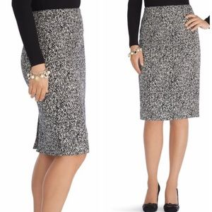 WHBM black and white twill pencil skirt